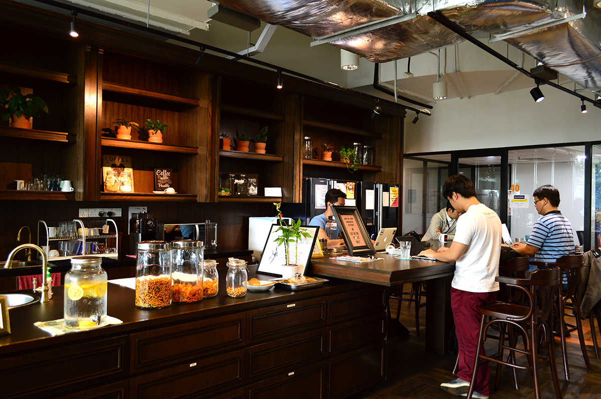 The pantry at WORQ is a popular place to meet, work, and get refreshments.