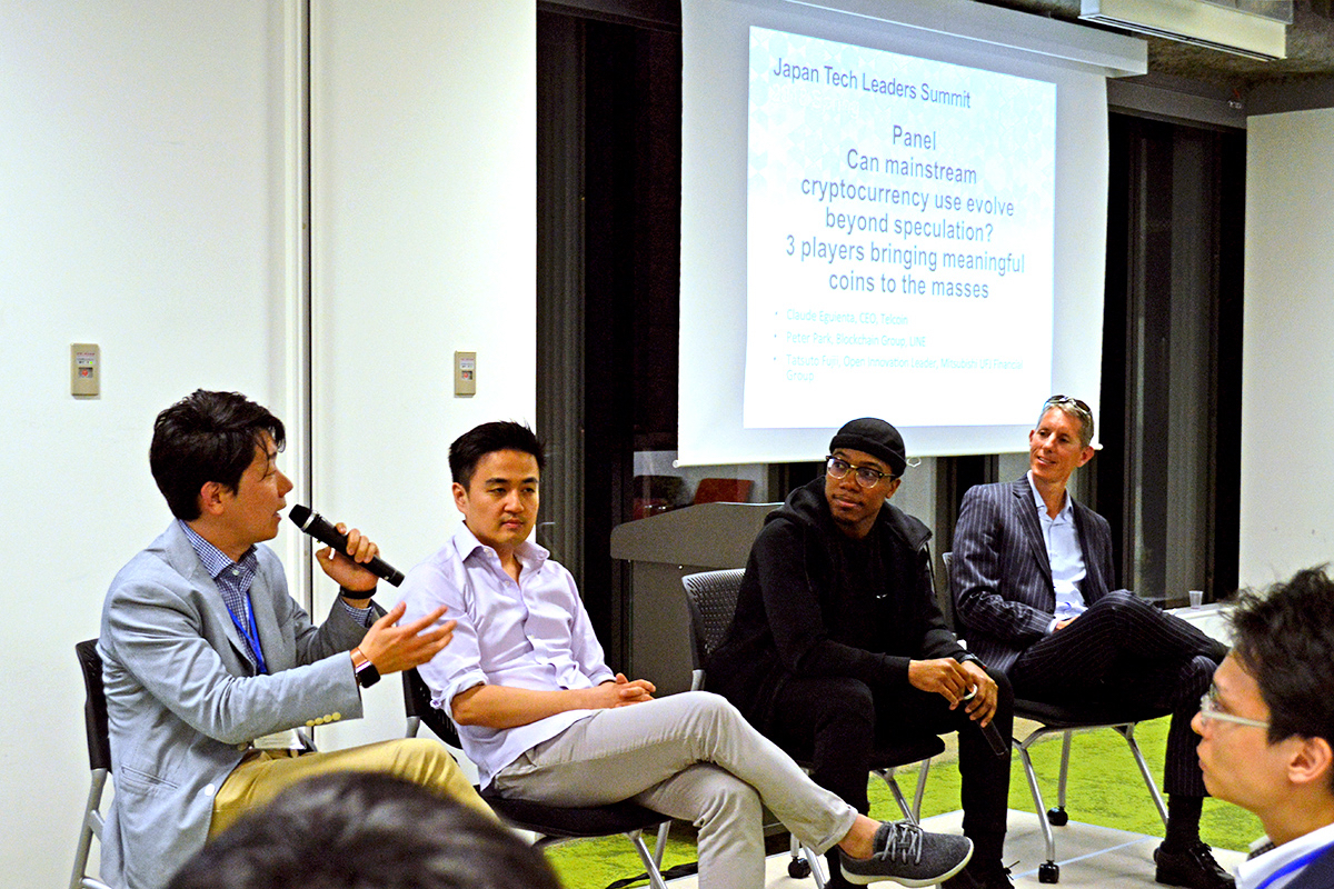 From left: Tatsuto Fujii, Open Innovation Leader, Mitsubishi UFJ Financial Group; Peter Park, Blockchain Group, LINE; Claude Eguienta, CEO, Telcoin; and Mark Bivens, venture partner, Truffle Capital, at Japan Tech Leaders Summit.