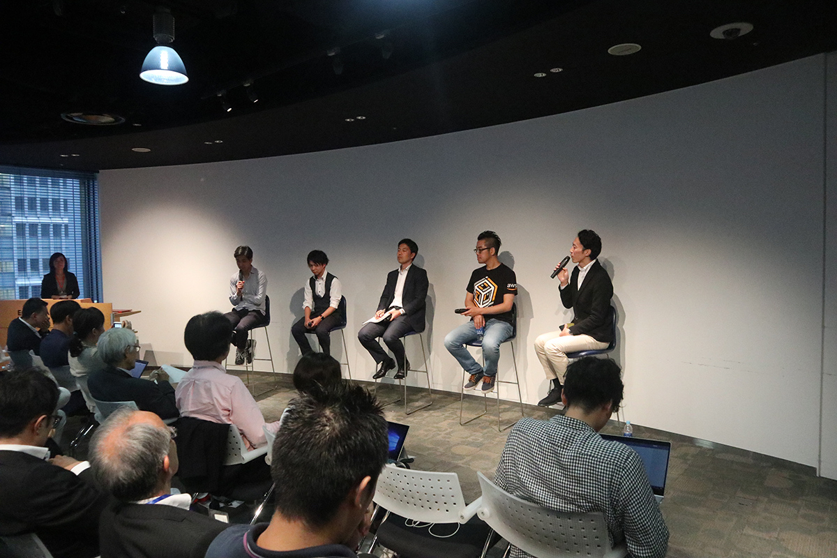 "Speakers at addlight Inc. and Mitsubishi Estate Co. Ltd.'s co-hosted event, Mirai Salon 8, which was titled ""New Business Development with Blockchain."""