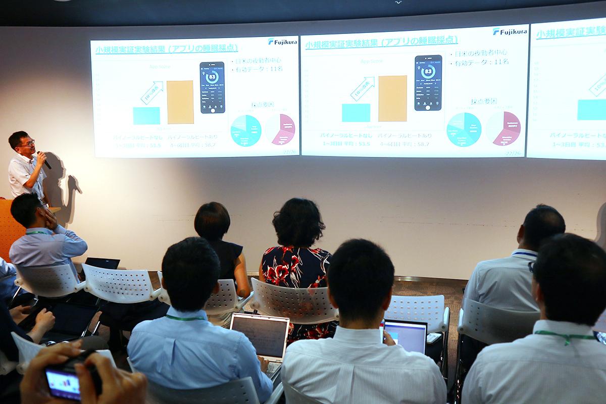 Takayuki Imai, the director of conglomerate Fujikura Ltd.'s office in Silicon Valley, speaking at addlight Inc.'s event, Mirai Salon #9.
