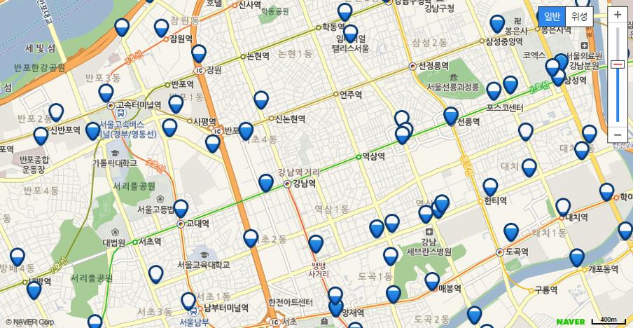 タンルイ:空白地帯が多い江南区。ピンの青色ゲージで自転車の駐輪台数の多さを直感的に認識できるよう工夫されており、クリックすると実際のラック数と駐輪台数が表示される。いちステーションあたりおよそ10台から20台の駐輪スペースが確保。
